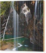 Misty Falls At Hanging Lake Wood Print