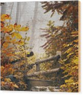 Misty Footbridge Wood Print