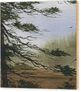 Misty Forest Bay Wood Print