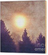 Misty Forest Sunrise Wood Print