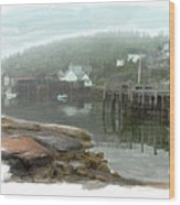 Misty Harbor Wood Print