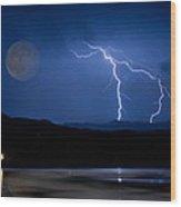 Misty Lake Full Moon Lightning Storm Fine Art Photo Wood Print