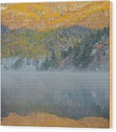 Misty Lake With Aspen Trees Wood Print