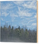 Misty Landscape Wood Print