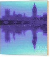 Misty London Reflection Wood Print