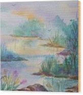 Misty Morn On A  Mountain Lake Wood Print