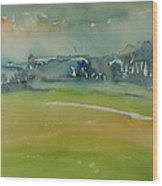 Misty Morning, 1981 Wc On Paper Wood Print