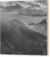 Misty Morning At Great Wall Wood Print