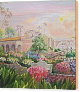 Misty Morning At Mission San Juan Capistrano  Wood Print by Jan Mecklenburg