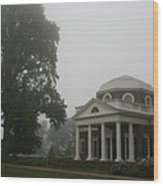 Misty Morning At Monticello Wood Print