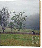 Misty Morning At The Farm Wood Print