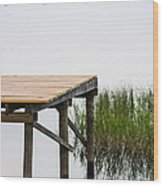 Misty Morning By The Dock Wood Print