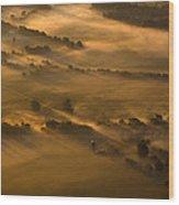 Misty Morning Farmland Wood Print