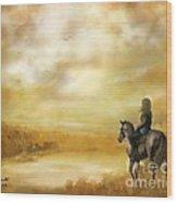 Misty Morning Horseback Ride Wood Print