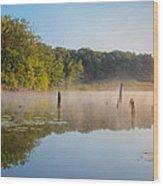 Misty Morning Lake Wood Print