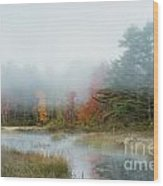 Misty Morning Maine Wood Print