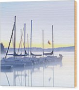 Misty Morning Sailboats Wood Print