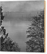 Misty Morning Sunrise Black And White Art Prints Wood Print