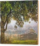 Misty Mountain Barn Wood Print