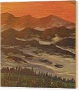 Misty Mountain Morning Wood Print