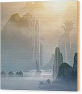 Misty Mountains Wood Print