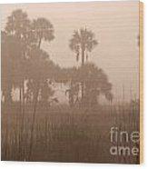 Misty Palmettos Wood Print