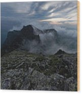 Misty Peaks And A Whiff Of Danger Wood Print