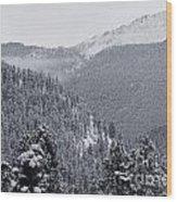 Misty Pikes Peak Wood Print