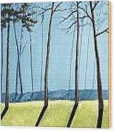 Misty Pines Wood Print