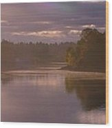 Misty River Reflection Wood Print