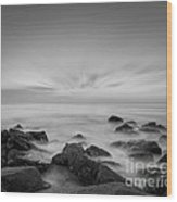 Misty Rocks Bw Wood Print