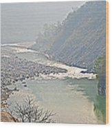 Misty Seti River Rapids In Nepal  Wood Print