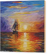 Misty Ship - Palette Knife Oil Painting On Canvas By Leonid Afremov Wood Print