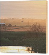 Misty Southern Indiana Sunset Wood Print