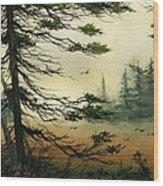 Misty Tideland Forest Wood Print by James Williamson