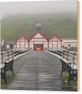 Misty View Of Victorian Pier  Redcar Wood Print