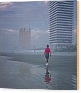 Misty Walk On Daytona Morning Wood Print
