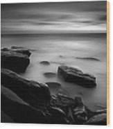Misty Water Black And White Wood Print
