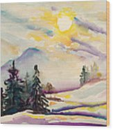 Misty Winter Afternoon In The Alps Wood Print