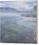 Misty Winter Morning On Lake Wood Print