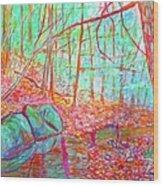 Misty Woods Wood Print
