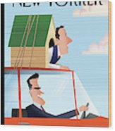 Mitt Romney Driving With Rick Santorum In A Dog Wood Print by Bob Staake