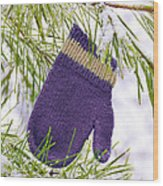 Mitten In Snowy Pine Tree Wood Print