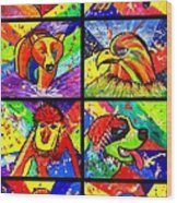 Mix Animal Pop Art Wood Print