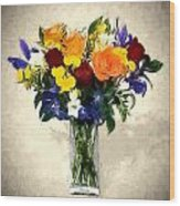 Mixed Bouquet Of Tropical Colored Flowers On Textured Vignette Oil Painting Wood Print