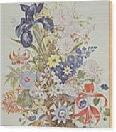 Mixed Flowers In A Cornucopia Wood Print