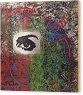 Mixed Media Abstract Post Modern Art By Alfredo Garcia Eye See You 2 Wood Print