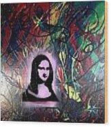 Mixed Media Abstract Post Modern Art By Alfredo Garcia Mona Lisa 2 Wood Print