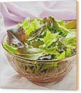 Mixed Salad On Table Wood Print