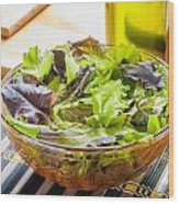 Mixed Salad With Condiments Wood Print